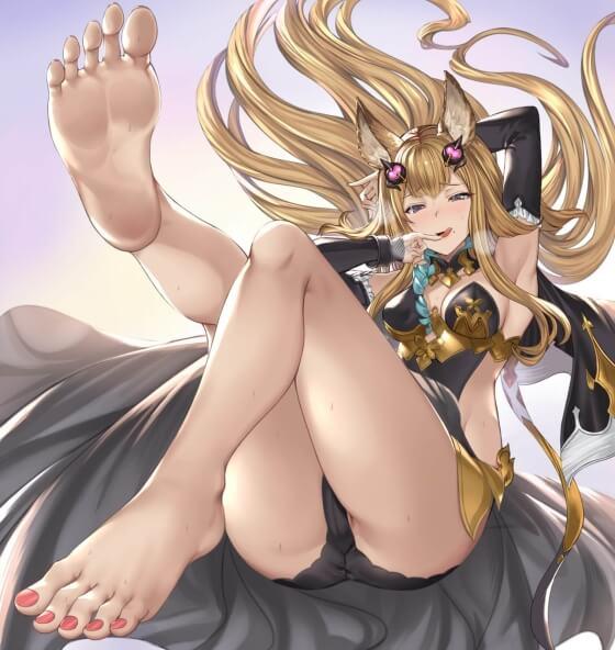 【エロ画像】 美少女ヒロイン達の足コキ!! 美しいおみ足でオチンポ扱きまくってる二次エロ画像www part45