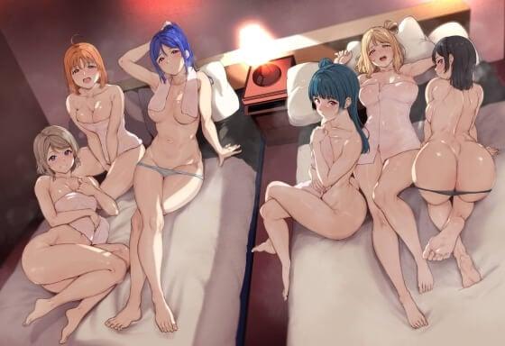 【エロ画像】 美少女ヒロイン達の乱交セックス!! エロ大好き少女達が集まってズコバコしまくってる二次エロ画像www